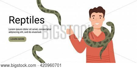 Vector Banner With A Man And Snakes