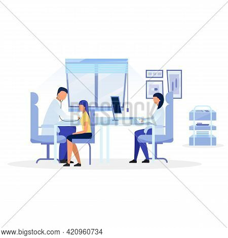 General Practitioner Examining Kid Flat Vector Illustration. Doctor, Therapist, Pediatrician Diagnos