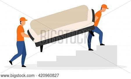 Furniture Delivery Service Flat Vector Illustration. Warehouse Workers Carrying Sofa Cartoon Charact