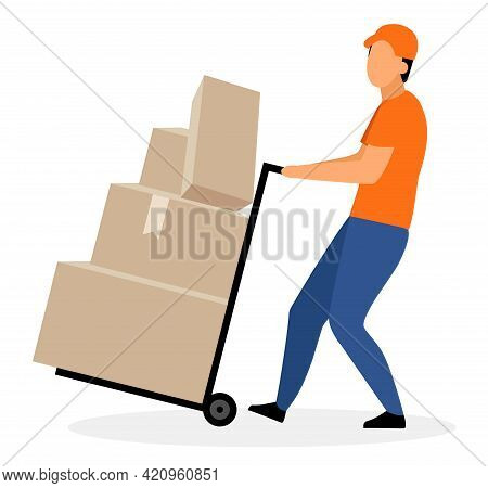 Warehouse Worker With Hand Truck Flat Vector Illustration. Courier, Deliveryman Moving Trolley, Doll