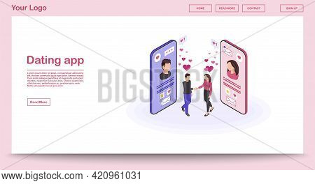 Dating App Webpage Vector Template With Isometric Illustration. Persons Social Network Profile. Real