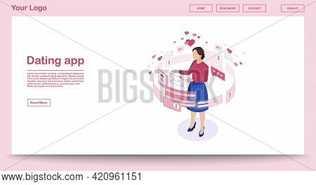 Dating App Webpage Vector Template With Isometric Illustration. Female Getting Message. Persons Soci