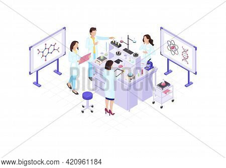 Scientists, Chemists, Geneticist, Research Worker Isometric Color Vector Illustration. Dna Helix, Ch