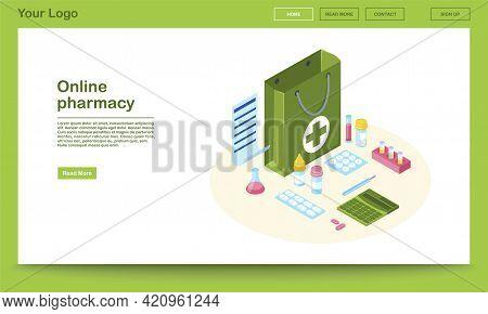 Online Pharmacy Website Isometric Template. 3d Drugstore Bag With Prescription List. Pills, Capsules