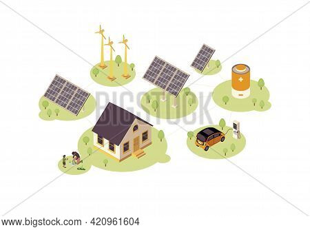 Renewable Energy Color Vector Illustration. Eco, Green Power Production Infographic. Electric Car Ch