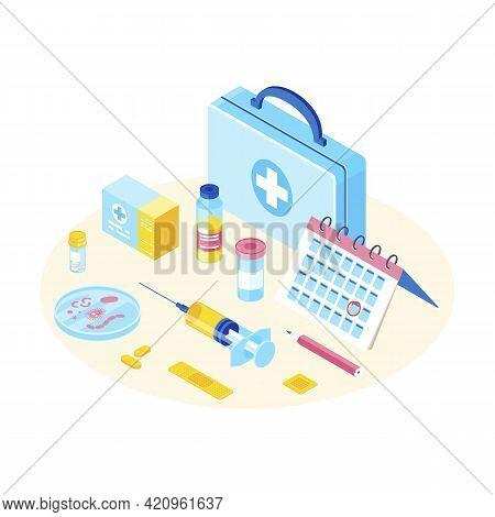 Medical Equipment Isometric Color Vector Illustration. Immunization, Inoculation, Vaccination. Vacci