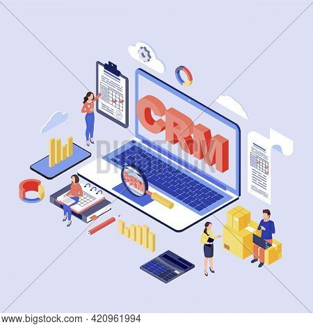 Crm Software Isometric Vector Illustration. Customer, Client Relationship Management System. Company