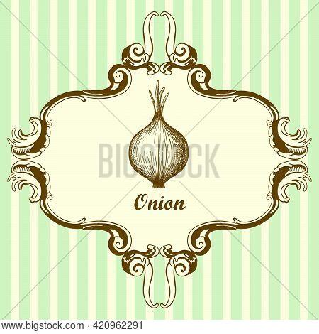 Onion Icon. Hand Drawn Sketch Design. Vector Illustration.