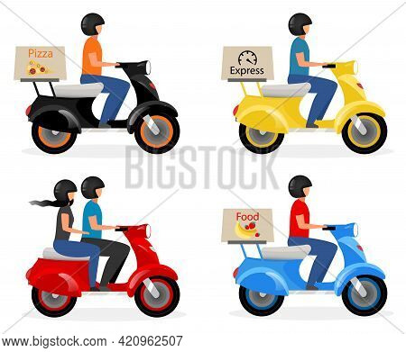 Scooter Delivery, Taxi Flat Vector Illustrations Set. Courier, Deliveryman Driver On Motorcycle, Mot