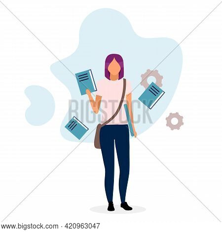 Teenage Schoolgirl With Textbooks Flat Vector Illustration. Young Student Holding Book Cartoon Chara