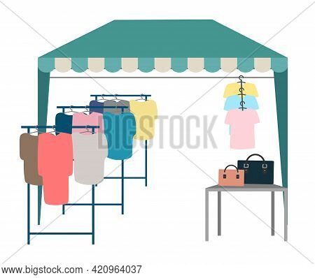 Trade Tent With Clothes Flat Vector Illustration. Street Market, Fair Awning. Outdoor Local Clothing