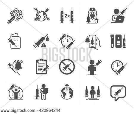 Vaccine Simple Icons. Corona Jab, Medical Syringe, Vaccination Passport Icons. Covid Vaccine, Human