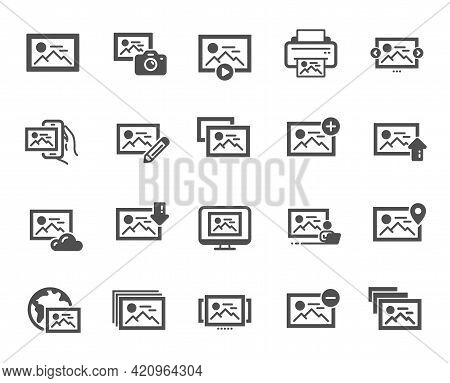 Photo Simple Icons. Print Image, Photo Camera, Upload Picture Icons. Edit Image, Play Presentation A