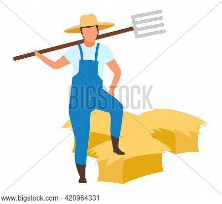 Farmer With Pitchfork Flat Vector Character. Autumn Harvest Concept On White Background. Farm Worker