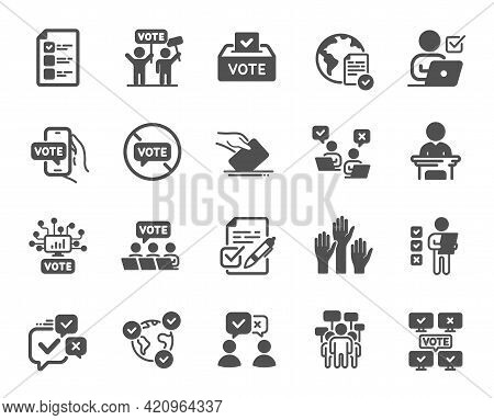 Voting Simple Icons. Public Election, Vote Box, Ballot Paper Icons. Candidate, Politics Voting And P
