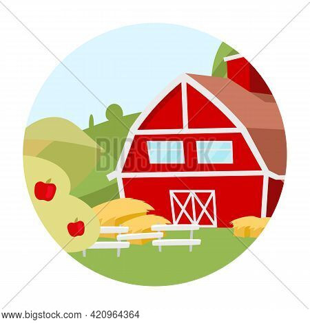 Farmhouse Flat Concept Icon. Countryside House, Ranch Yard With Apple Orchard Sticker, Clipart. Vill