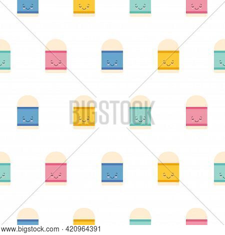Cute Kawaii Eraser Character Icon Pattern Seamless Isolated On White Background. Editable Flat Erase