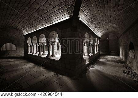 Hallway in Romanesque monastery in village in Pueblo Espanol Barcelona, Spain