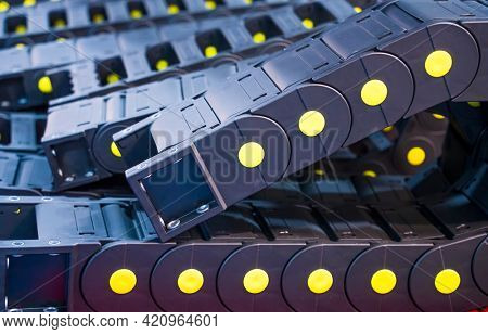 close up the roller bearing at the conveyor belt