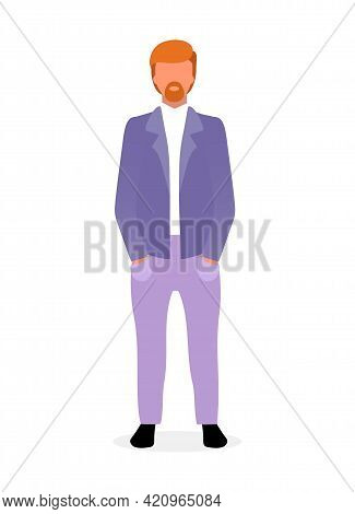 Red Haired Bearded Man Flat Vector Illustration. Confident Guy In Formal Suit With Hands In Pocket.