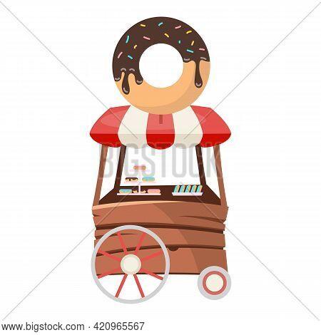 Donut Food Truck Flat Vector Illustration. Mini Candy Store On Wheels. Desserts Sale. Street Food Ve