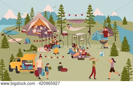 Holidaymakers In Summer Camp Flat Vector Illustration. Friends, Students On Vacation In Mountains. F