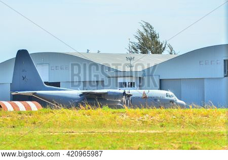 Labuan Ft,malaysia-may 4,2021:the Royal Malaysian Air Force C-130 Hercules Transport Plane On The Gr