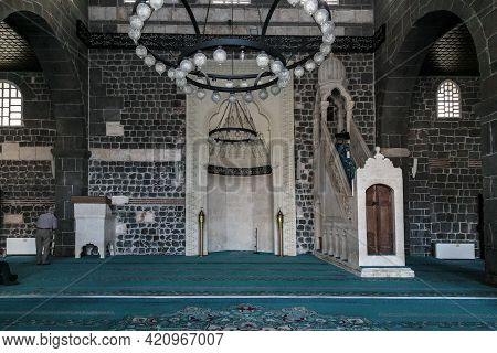 Diyarbakir, Turkey - October 9, 2020: This Is The Mihrab And Minbar In The Great Mosque, One Of The