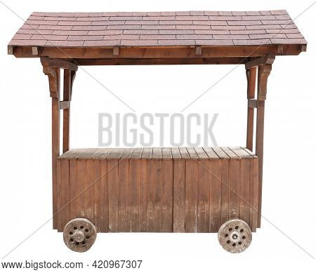 Wooden market stand stall on wheels vintage used selling object isolated on white background