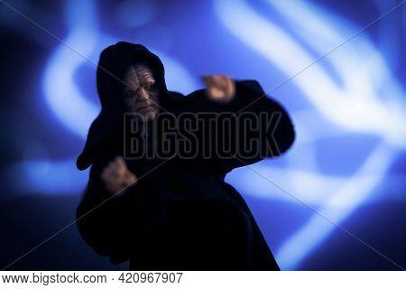 MAY 17 2021: Star Wars Darth Sidious aka Emperor Sheev Palpatine and Force lightning  - Hasbro action figure