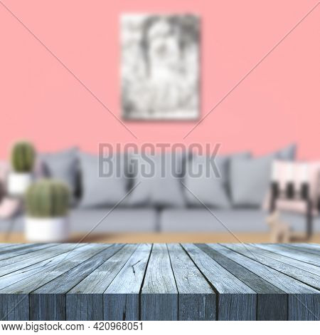 3D render of an old wooden table against a modern defocussed lounge interior