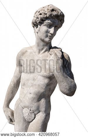 Ancient stone sculpture of naked man on white background. art and classical style romantic figurative stone sculpture.
