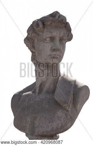 Close up of ancient stone sculpture of man's bust on white background. art and classical style romantic figurative stone sculpture.
