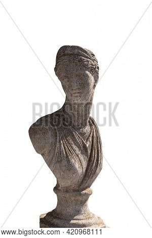Close up of ancient stone sculpture of woman's bust on white background. art and classical style romantic figurative stone sculpture.