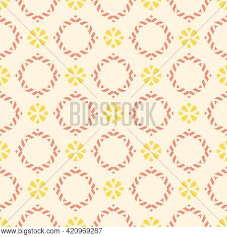 Vector Ornamental Seamless Pattern. Elegant Geometric Ornament Texture With Small Flower Silhouettes
