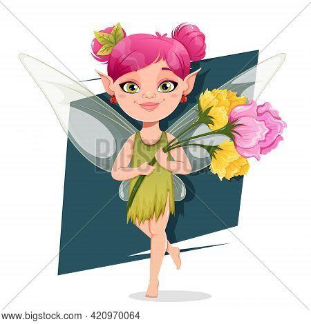 Beautiful Fairy Cartoon Character. Cheerful Magic Fairy With Flowers. Stock Vector Illustration