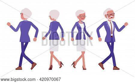 Handsome Old Man, Woman, Elderly Businesspeople In Elegant Suit Walking. Bossy Senior Manager, Gray