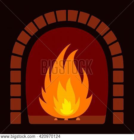 Fire In Fireplace. Cartoon Style. Vector Illustration.
