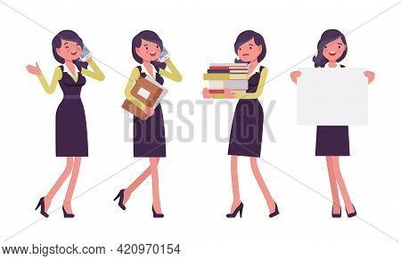 Attractive Businesswoman, Woman In Formal Black Secretary Pencil Office Dress. Successful Manager, Y