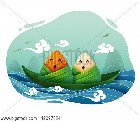Dragon Boat Festival rice dumpling cartoon character on leaf boat floating on water.