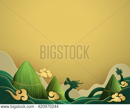 Dragon Boat Festival rice dumpling and dragon on paper graphic mountain scene background.