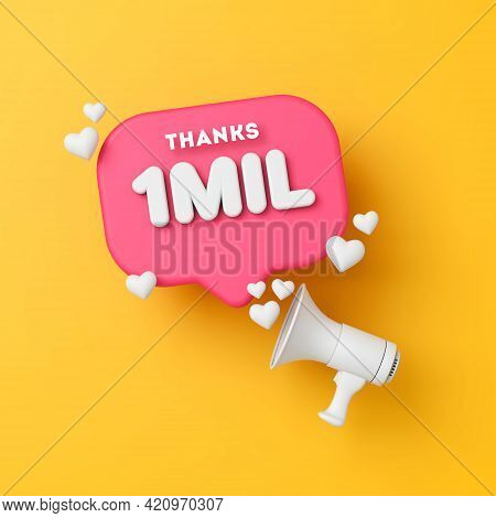 1 Million Followers Social Media Thanks Banner. 3d Rendering