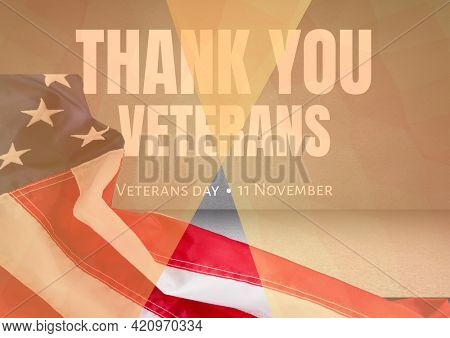 Thank you veterans and american flag over grey background, veterans day and patriotism concept. digitally generated image