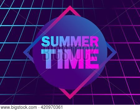Summer Time. 80s Retro Sun In A Triangular Frame. Synthwave And Retro Wave Style. Grid Virtual Reali