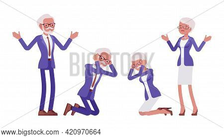 Handsome Old Man, Woman, Elderly Businesspeople In Elegant Suit, Knelt. Bossy Senior Manager, Gray H