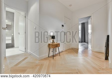 Minimalist Style Interior Design Of Hallway With Parquet Floor And Doors Leading To Rooms In Modern