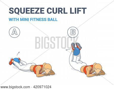 Girl Doing Squeeze Curl And Lifts With Medicine Ball Home Workout Exercise Guidance Illustration.