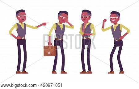 Black Businessman, Man In Formal Workwear, Office Outfit, Different Emotions. Successful Manager, En