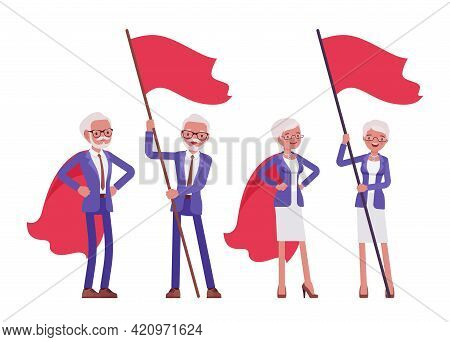 Handsome Old Man, Woman Elderly Businesspeople In Red Hero Cloak, With Flag. Bossy Senior Manager, G
