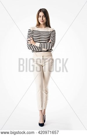 Young Businesswoman Studio Shot At Isolated White Background